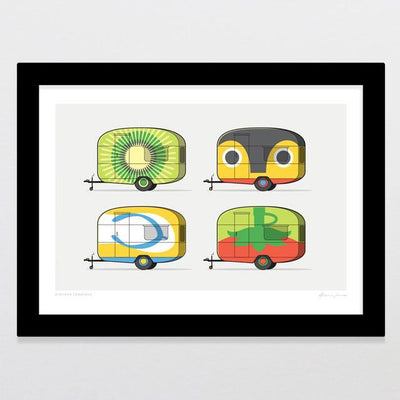 Kiwiana Caravans Art Print-Glenn Jones Art