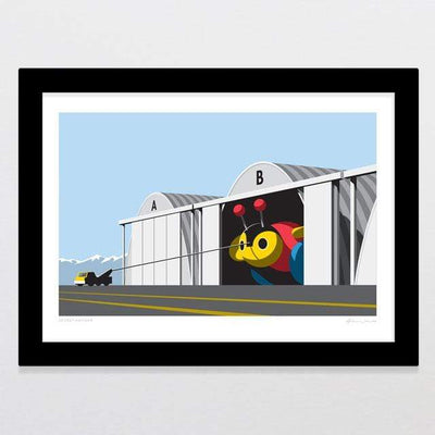 Glenn Jones Art Secret Hangar Art Print Art Print A4 Print / Black Frame