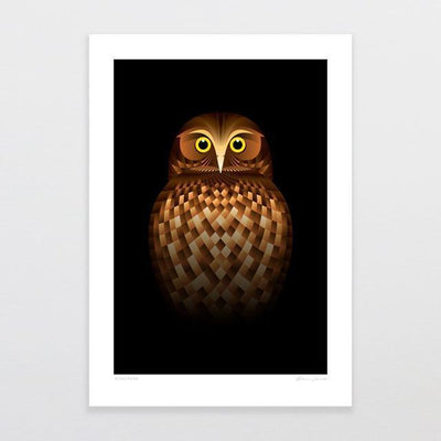 Morepork Art Print-Glenn Jones Art