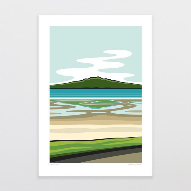 Glenn Jones Art Rangitoto Art Print Art Print A4 Print / Unframed