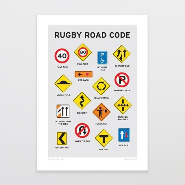 Rugby Road Code Art Print-Glenn Jones Art