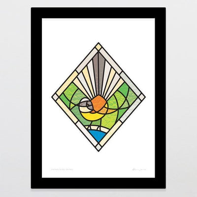 Stained Glass Fantail Art Print-Glenn Jones Art