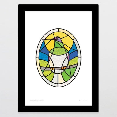 Stained Glass Kereru Art Print-Glenn Jones Art