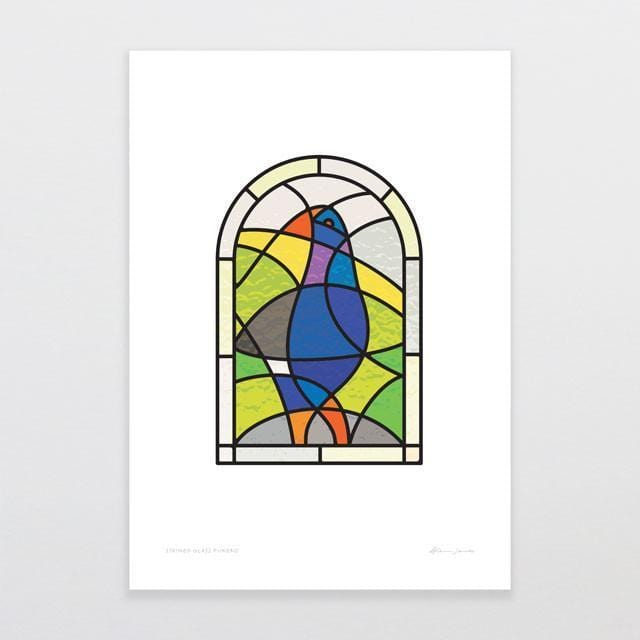 Stained Glass Pukeko Art Print-Glenn Jones Art
