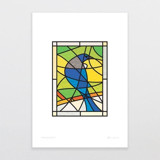 Stained Glass Tui Art Print-Glenn Jones Art
