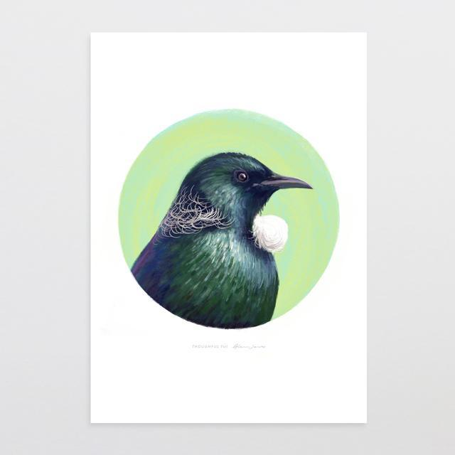 Thoughtful Tui Art Print-Glenn Jones Art