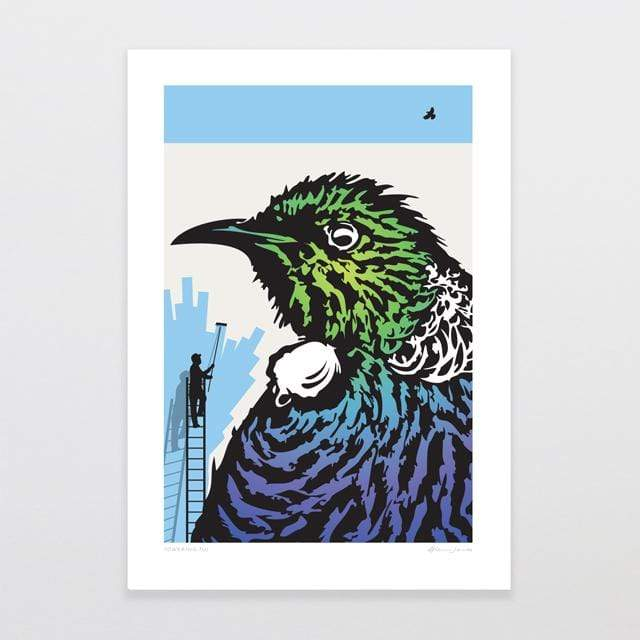 Glenn Jones Art Towering Tui Art Print Art Print A4 Print / Unframed