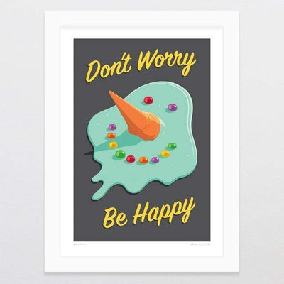 Glenn Jones Art Be Happy Art Print Art Print A4 Print / White Frame