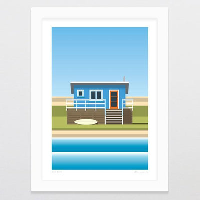 Glenn Jones Art Blue Bach Art Print Art Print A4 Print / White Frame