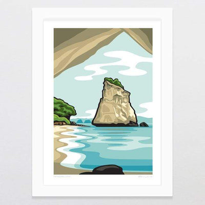 Glenn Jones Art Cathedral Cove Art Print Art Print A4 Print / White Frame