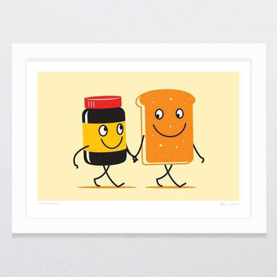 Glenn Jones Art Food Friends 3 Art Print Art Print A4 Print / White Frame