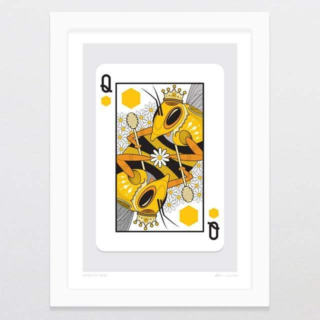 Glenn Jones Art Queen Of Bees Art Print Art Print A4 Print / White Frame
