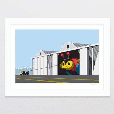 Glenn Jones Art Secret Hangar Art Print Art Print A4 Print / White Frame