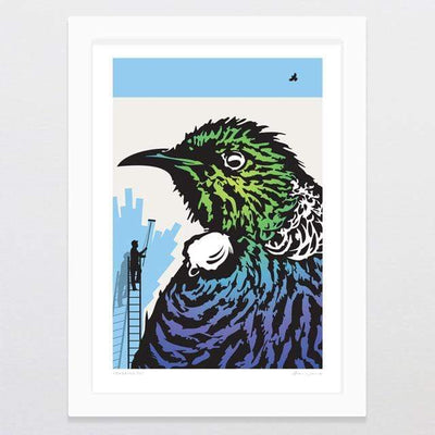 Glenn Jones Art Towering Tui Art Print Art Print A4 Print / White Frame