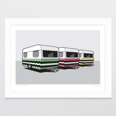 Glenn Jones Art Colourful Campers Art Print Art Print