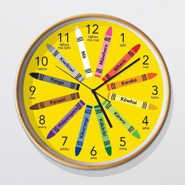 Glenn Jones Art Te Reo Crayons Clock Clock