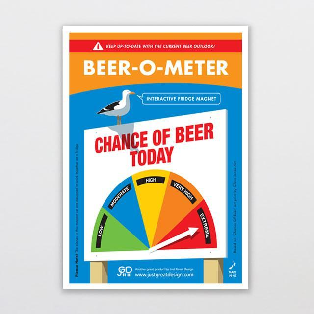 Beer-o-meter Fridge Magnet-Glenn Jones Art