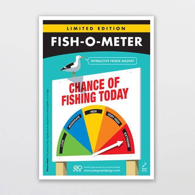 Fish-o-meter Fridge Magnet-Glenn Jones Art