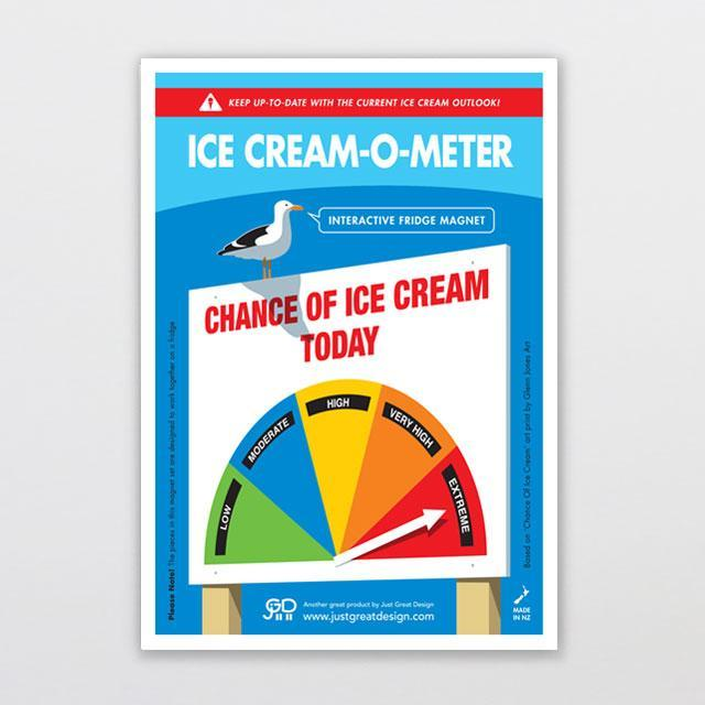 Ice Cream-o-meter Fridge Magnet-Glenn Jones Art