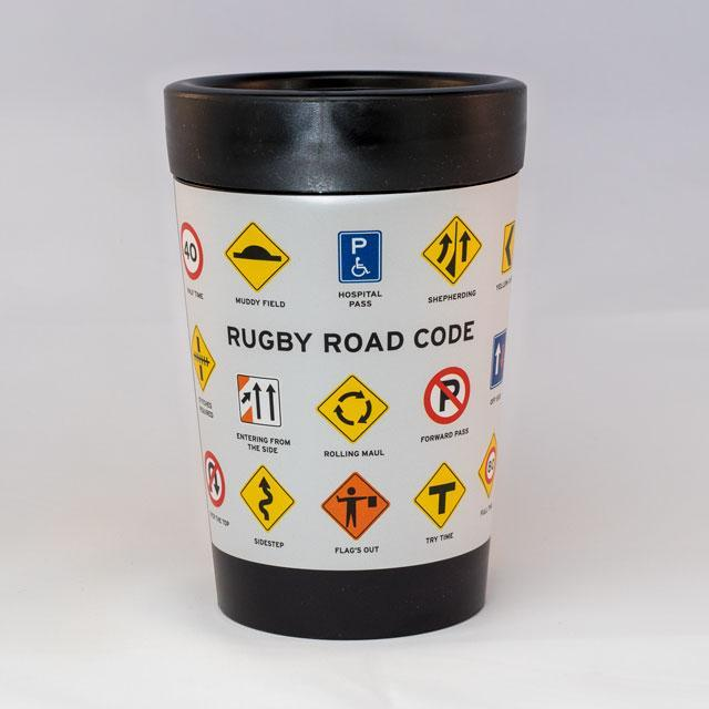 Rugby Road Code Reusable Cup-Glenn Jones Art