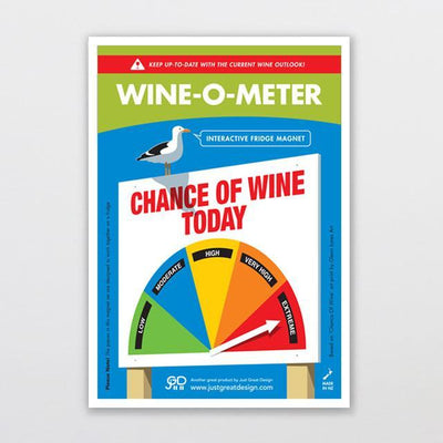 Wine-o-meter Fridge Magnet-Glenn Jones Art