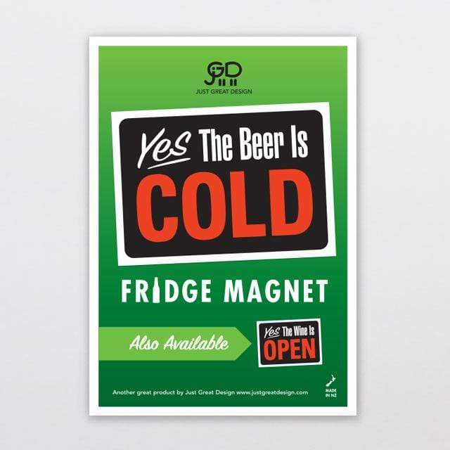 Glenn Jones Art Beer Is Cold Fridge Magnet magnet