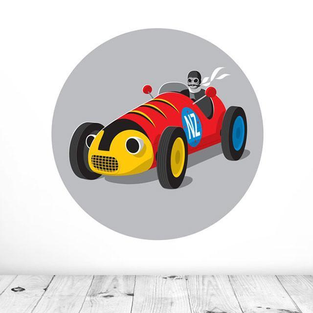 Retro Racer Mural Dot Decal-Glenn Jones Art