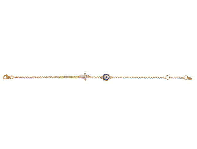 Small Eye and Crystal Cross Bracelet in Gold