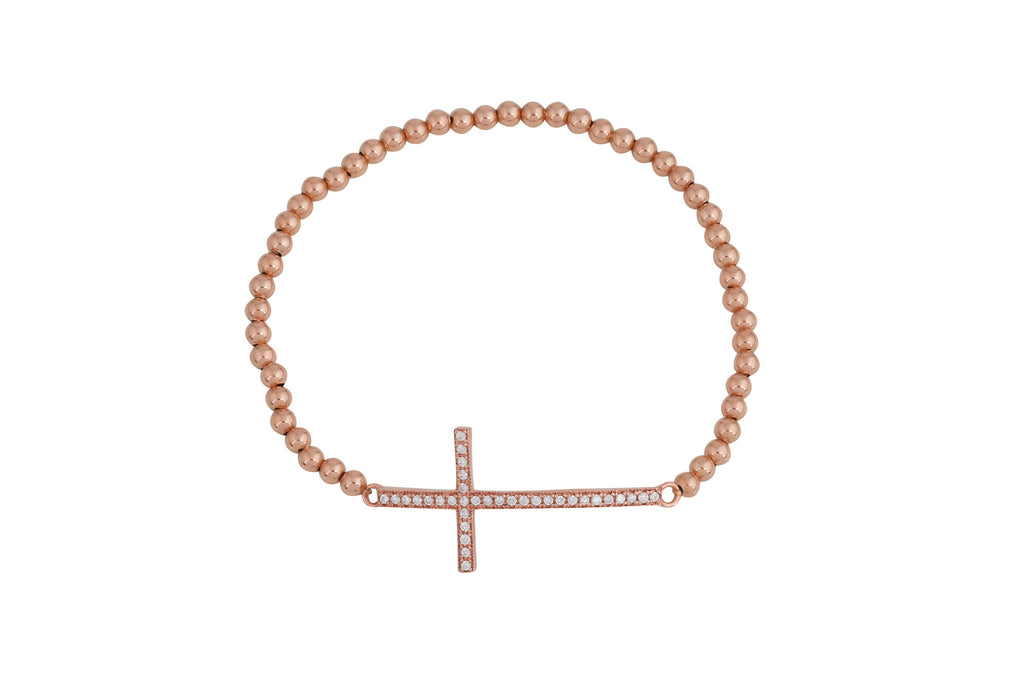 Big Cross on Beaded Bracelet in Gold