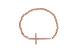 Big Cross on Beaded Bracelet in Rose Gold
