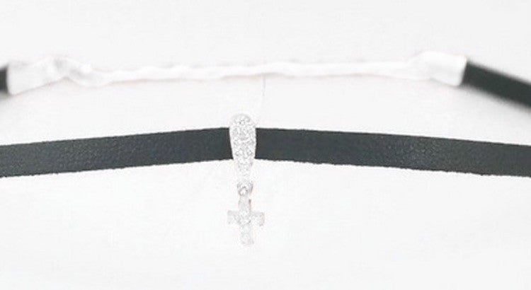 Black Choker with Cross in Sterling Silver