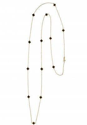 Black Clover Long Necklace in Gold