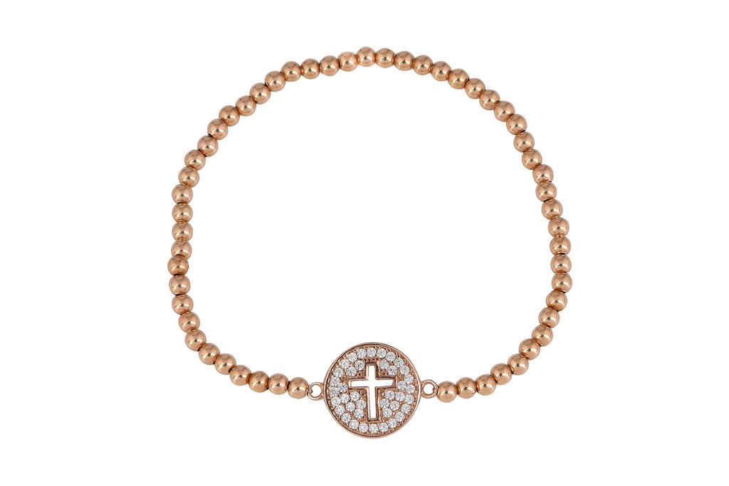 Circle Cut Out Cross Beaded Bracelet in Rose Gold