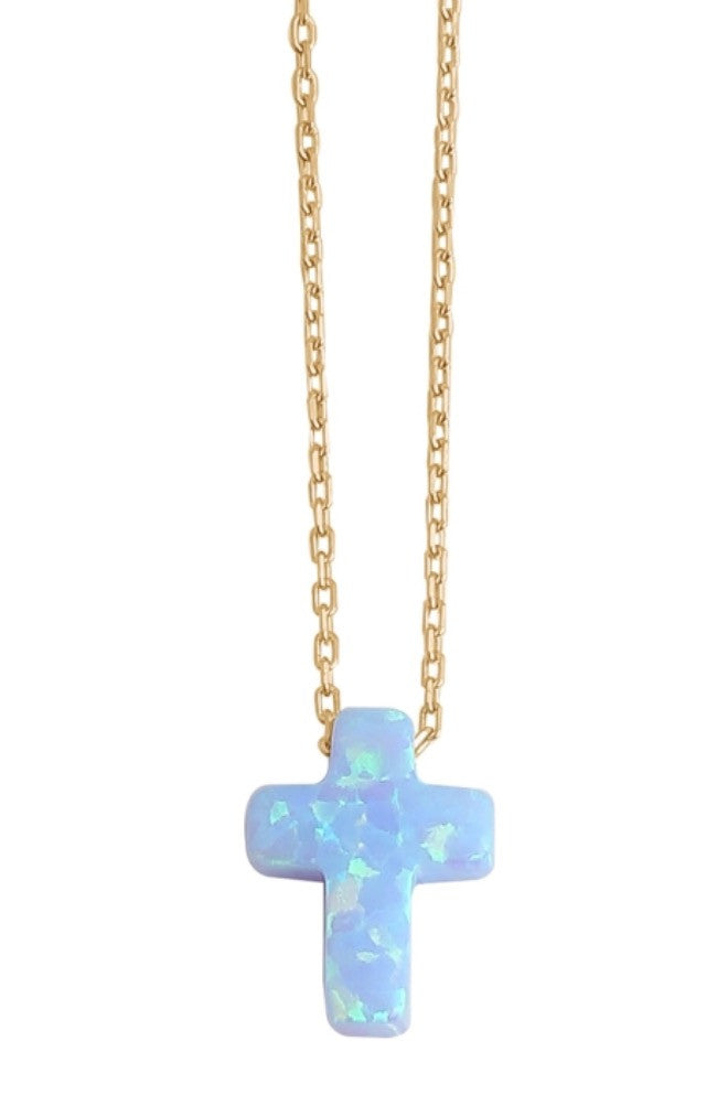 Cross Opalite Necklace in Gold