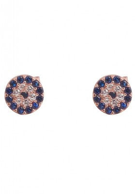 Evil Eye Earrings in Blue and Rose Gold