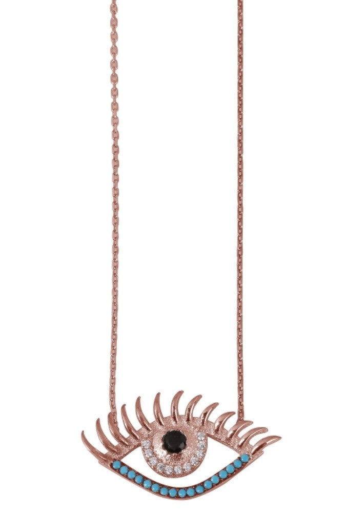 Eyelash Necklace in Rose Gold