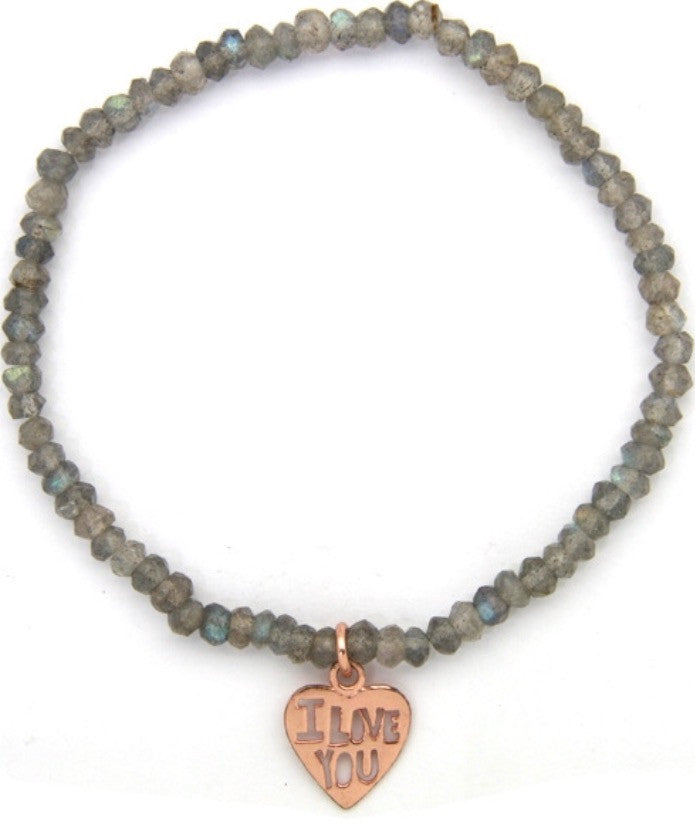 I Love You Fools Gold Pyrite Bracelet in Rose Gold