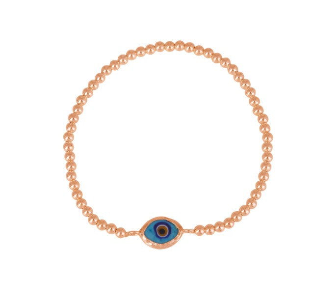 Rhodes Eye Beaded Bracelet in Rose Gold