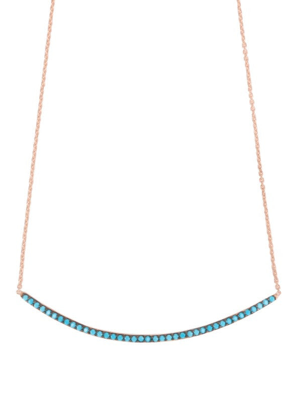 Curved Bar Necklace in Rose Gold