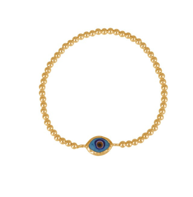 Rhodes Eye Beaded Bracelet in Gold