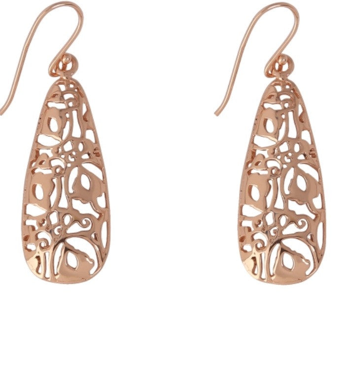 Long Ornate Earrings in Rose Gold