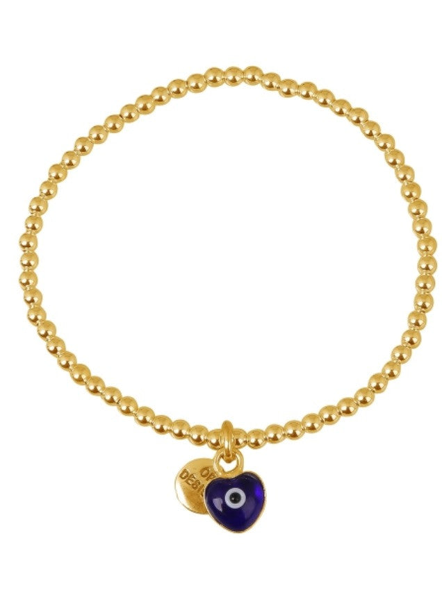 Love Heart Dark Blue Eye Beaded Bracelet in Gold