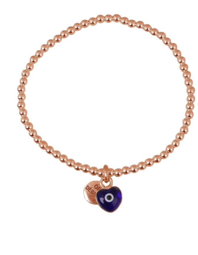 Love Heart Dark Blue Eye Beaded Bracelet in Rose Gold