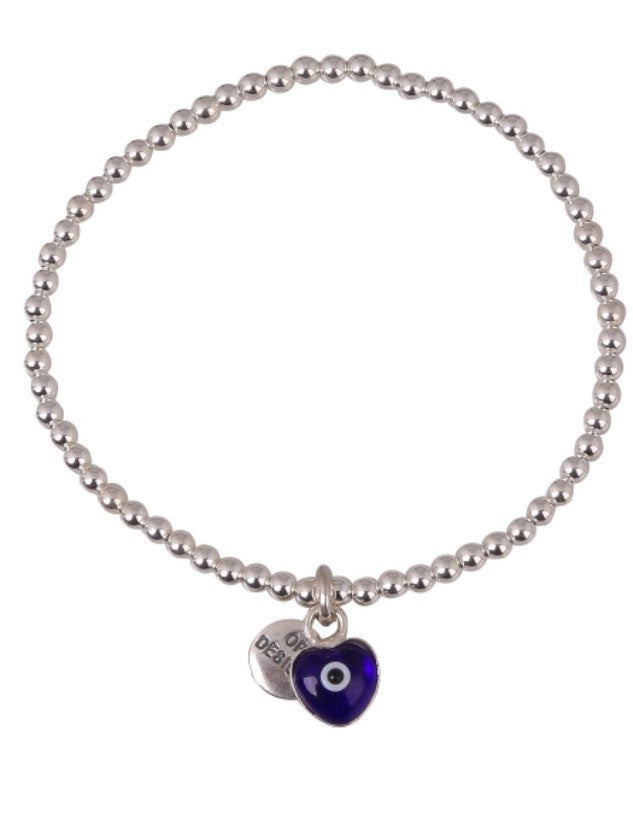 Love Heart Dark Blue Eye Beaded Bracelet in Sterling Silver