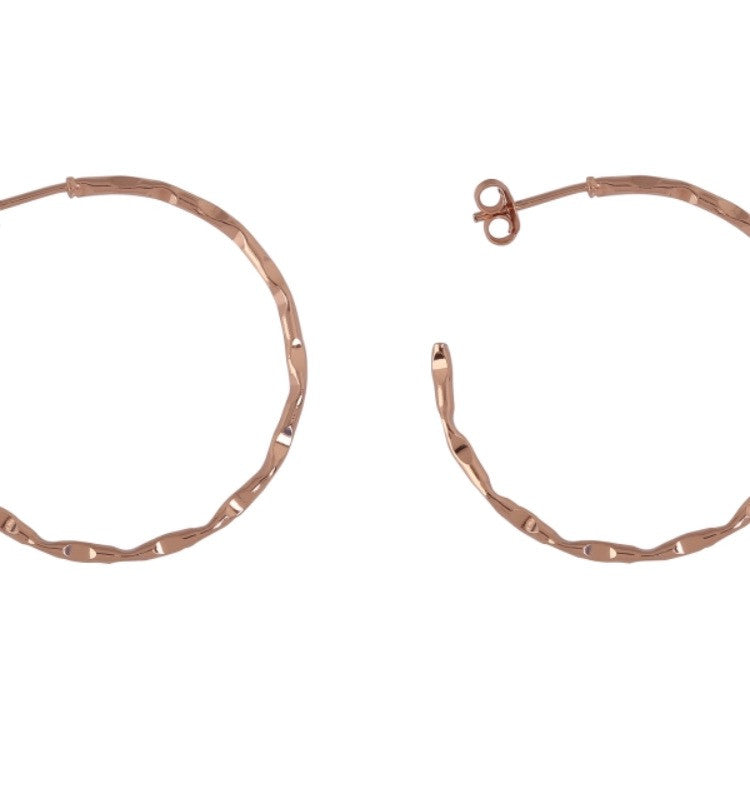 Love Hoop Earrings in Rose Gold