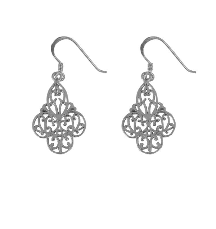 Mini Ornate Earrings in Sterling Silver