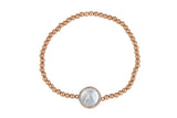 Mother Of Pearl Beaded Bracelet in Gold
