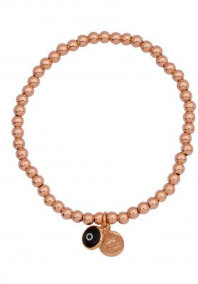 Eye Love Beaded Bracelet in Rose Gold with Black Eye