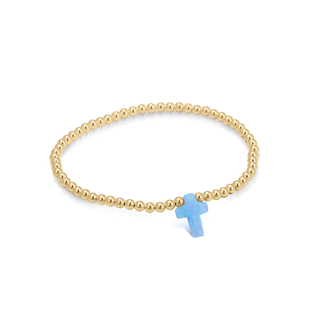 Opalite Cross Beaded Bracelet in Gold