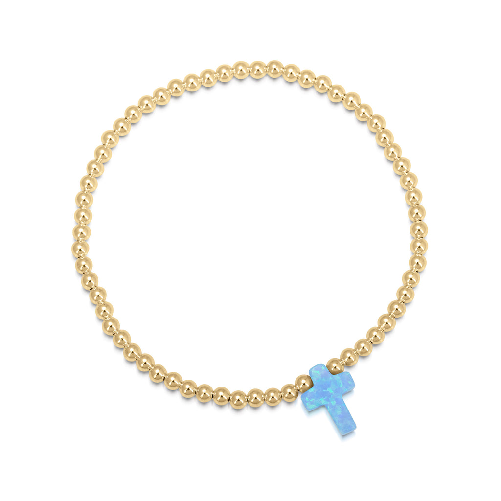 Opalite Cross Beaded Bracelet in Sterling Silver